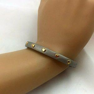 Silver & Gold Tone Heart  fashion Bracelet